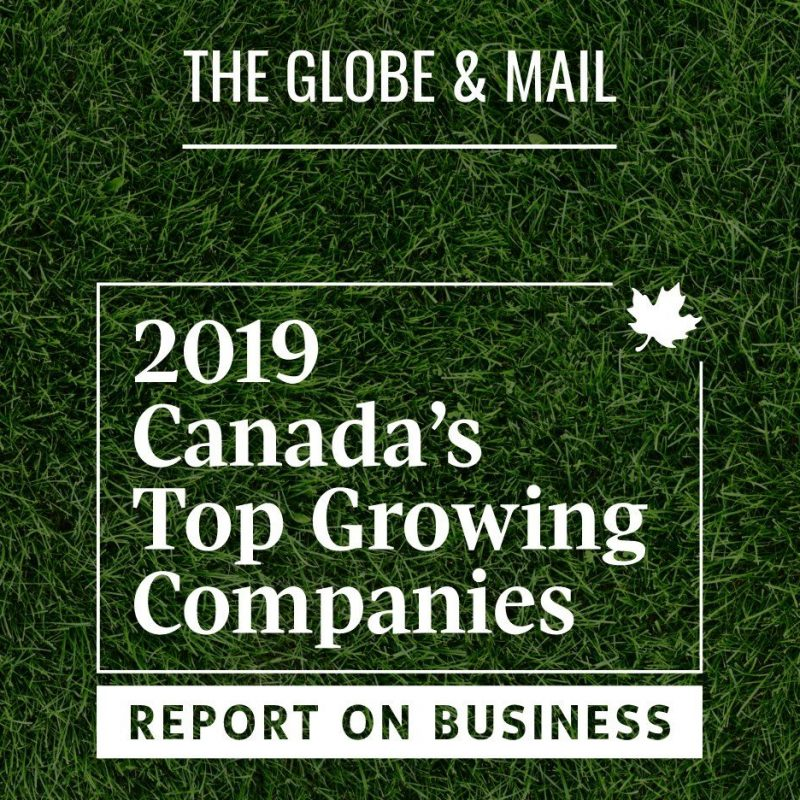 Hometurf social graphic with Globe and Mail's 2019 Canada's Top Growing Companies logo.