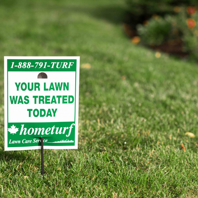 Hometurf lawn sign on customer's property.